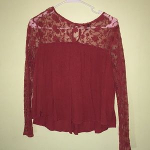 Burgundy lace flowered blouse